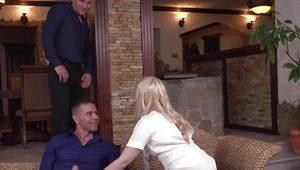 Hard DP Threesome for Natural Blonde