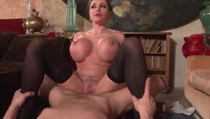 Huge boobed french milf hard banged and jizzed on tits