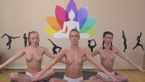 Fitness Rooms Yoga lesbian centipede pussy eating with nubile young girls