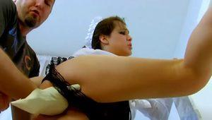 French maid deepthroat and fuck very hard