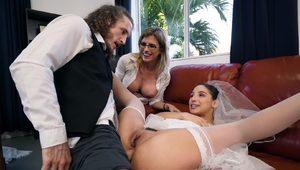 A hot bride Abella Danger gets her first anal sex on the wedding day
