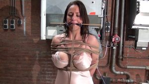 Big tits BDSM slave bound and gagged