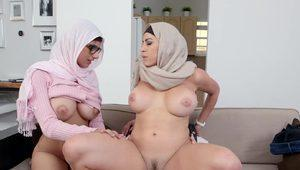 Mia Khalifa Arab Threesome Sex Act: busty Mia sharing cock with her muslim girlfriend