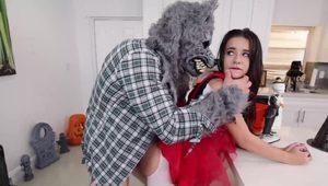 Kharlie Stone getting fucked by the gray wolf at a Halloween party