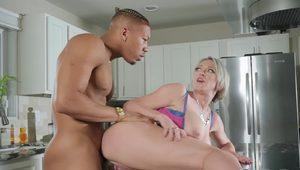 Huge hooters housewife getting blacked in the kitchen while her husband is gone
