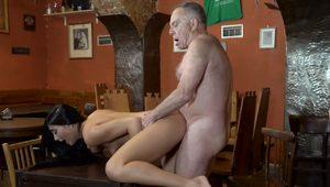 DADDY4K. Long-haired 18-year-old nicely rides supersized big beautiful woman rod of...