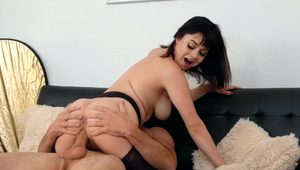 Happy brunette with a trimmed cunt enjoys being fucked