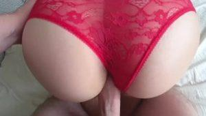My step brother finished in my panties after our sex