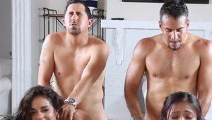 Jade Jantzen and Vienna Black share a foursome fuck with their dads