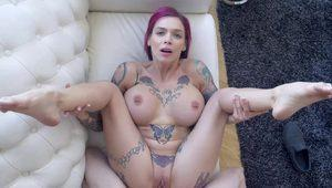 POV head with a lot of spit from a busty inked hot chick. HD