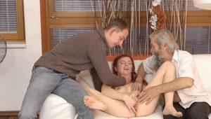 DADDY4K. Guy and his old daddy team up to punish slutty