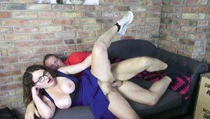 GERMAN TEEN with GLASSES and BIG TITS CAUGHT AND FUCKED