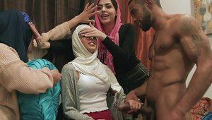 Sexy arab beauties fucked by male stripper
