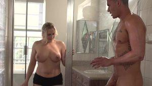 Alluring blonde porn star gets nailed under the shower so damn hard