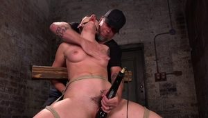 Gagging submissive whipped and pussy toyed