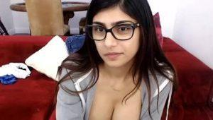 MIA KHALIFA - Gorgeous Arab Pornstar Solo Masturbation on Red Couch