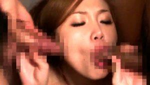 Desirable Japanese wife has two guys sharing her tight cunt
