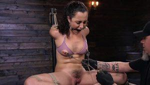 Nipples tortured and gagged in hogtie