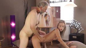 Old4k. cumshot all over tummy culminates sex of old