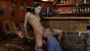 DADDY4K. Old dad seduces beautiful dark haired lady while son..